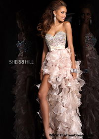 Strapless Sequined Nude Ruffled High Low Organza Prom Dress