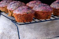 Blueberry Beet Honey Oat Muffins