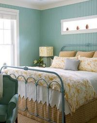 Dream guest room :) Robin's egg blue, sunny yellow, birds, white quilt, bead board, vintage feel...I could go on all day.