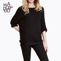 Must-have Vogue Simple Batwing Sleeves Fall Frilled Sweater - Bonny YZOZO Boutique Store