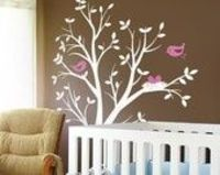 Vinyl Wall Decal Sticker - THE ORIGINAL - Tree with birds and nest for Baby Nursery. $68.00, via Etsy.