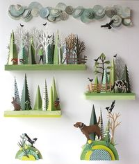 Helen Musselwhite's Work/Life 3 dimensional paper illustration. Let's all marvel at how amazing Helen's shelf of inspiration is! Helen Musselwhite is a UK-based