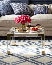 Jonathan Adler Jacques Lucite & Brass Coffee Table