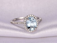 6X8MM OVAL CUT AQUAMARINE AND DIAMOND ENGAGEMENT RING 14K WHITE GOLD HALO STACKING RING