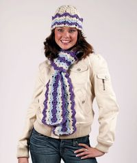 Crochet Ripple Hat and Scarf pattern FREE Designed by Mary Jane