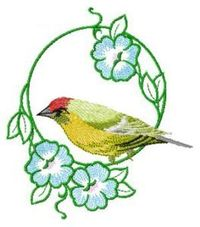 MACHINE EMBROIDERY DESIGN YELLOW BIRD WITH FLOWERS