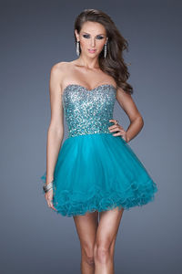 Embellished Bodice Peacock Short Layer La Femme 19451 Homecoming Dresses