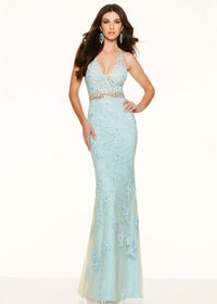 Long Fitted Beaded Lace Embroidery Halter V Neck Sky Blue Prom Dress