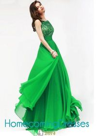 Dazzling Bejeweled Sheer Top Open Back Long Emerald Prom Dress