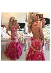 V Neck Lace Sweep Train Sleeveless Fuchsia Trumpet Mermaid Prom Dress
