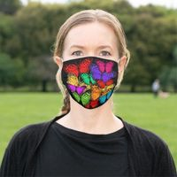 Colorful Butterflies on Black Cloth Face Mask