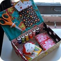 Sewing kit from a shoebox. This would work with a thrifted cigar box, too!