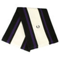 Fred Perry Black, Cream and Purple Stripe Scarf Wide cream panel down middle of scarf. Narrow purple stripe and black panels. Black sewn Fred Perry logo to end of scarf. Straight hem. Length - 52. Width - 9. Material - 100% Pure Wool http://www.compar...