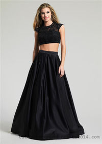 Dave and Johnny 1796 Black Beaded Two Piece Long Dresses