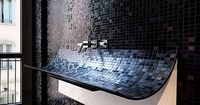 """Love the tile colors, like the sink idea, not so crazy about the white wall below the sink - """"Curved Bathroom Sink in Mosaic Tile - Skin by Lago"""""""