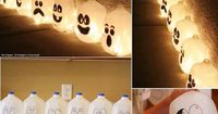 Line the walkway to your home with these ghostly lanterns. Draw the faces on with a sharpie, fill them with water, drop in a glowstick,maybe some arange food color to water, and paint cap green or you can use Christmas lights and string the milk cartons t...