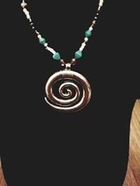 Turquoise and Silver Beaded Necklace with Hobo Chic Silver Pendant $10.00