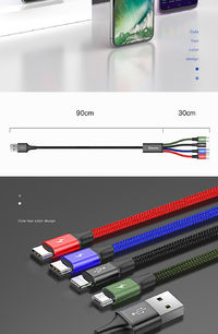 BASEUS 1.2m One Drag Four Android Apple Type C Data Cable USB Mobile Phone Charging Cables For Android IPHONE Multi/apple+micro+micro+type-c