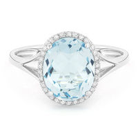 3.40ct Checkerboard Cut Blue Topaz & Round Diamond Oval Halo Right-Hand Ring in 14k Yellow Gold