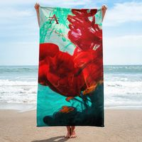Mint Green on Red Ink Drop Towel $35.00