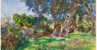 John Singer Sargent / Olive Trees, Corfu / Watercolor and gouache, with scraping, over touches of pen and blue ink, on cream wove paper