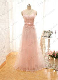 PD16009 Soft blush pink colored strappy v back tulle prom dress