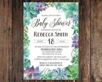 Print at Home Watercolor Succulent Baby Shower 5x7 Invitation Rustic, Vintage, Style (DIY Printable Digital File) Boy Girl Blue Green Purple