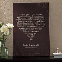 OMG I LOVE this Canvas! It's beautiful wedding vows molded into the shape of a heart and it comes in 3 different colors. You get to add your names or anything you want on the bottom 2 lines and it's only $38.95! This is totally going to be my new ...