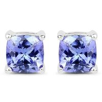 Ethically Mined Natural 1.7CT Cushion Cut Tanzanite Stud Earrings 14K White Gold $255.00
