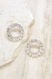 Large Crystal and Gold Circle Stud Earrings $84.00
