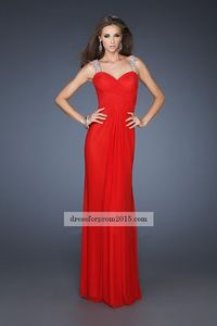 Beaded Open Back Straps Strapless Red Evening Gown