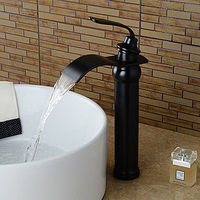 Bathroom Sink Faucet with Antique ORB Finish Waterfall Centerset Faucet