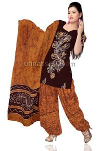 Unstitched corporate dark brown and yellow Batik pure cotton salwar kameez