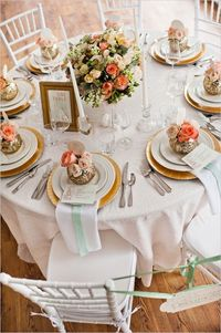peach and gold table decoration ideas. Romantic Mint, Peach and Gold Wedding Ideas