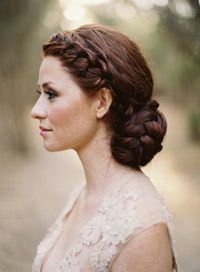 How gorgeous is her hair! Braided wedding bun. Photo by Jose Villa