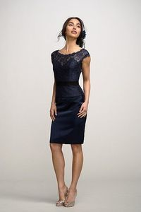 Watters - lace over black lining top and skirt.
