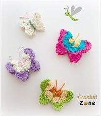 Usher in spring with these colorful, bright and fun butterflies. They will look so adorable on so many things or just hang them from string in your window, I think they will make you smile. You can work them in any type, size yarn and an appropriate hook ...