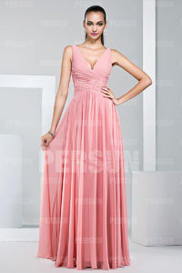 Chiffon Straps Ruching Pleates A line Long Bridesmaid Dress