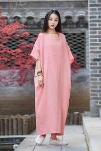 Women's Bat sleeves dress, Pink Dress, Linen tunic dress, Cotton dress, Maxi Dresses, Plus size clothing, Party Dress, Cocktail Dress