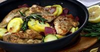 Lemon Rosemary Chicken Skillet | Wildtree recipe turned PALEO!! | Use coconut oil instead of GSO & drizzle w/ lemon infused EVOO before serving | NOM! NOM! NOM!