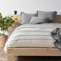 Rippled Stripe Ivory & Black Bedding by Coyuchi $298.00