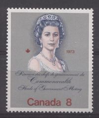 """Canada #620ii (SG#759) 8c Multicoloured Queen Elizabeth II 1973 Royal Visit Issue """"F"""" Paper Type 4 Pale Complexion VF-84 NH $1.09"""