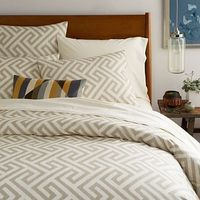Organic Ikat Key Duvet Cover + Shams - Flax #westelm- I need this so bad for the guest bedroom! And the euro shams to go with it! :)