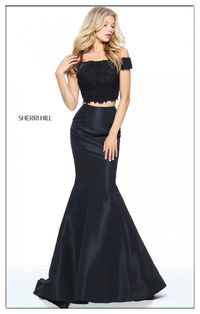 Sherri Hill Black 51157 Two Piece Strapless Formal Dress For Prom
