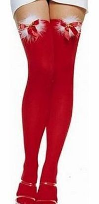 Lilys Design Ladies Red Fur Bow Christmas Stockings Thigh High Socks Tights Red opaque Christmas sheer Stockings with white fluffy fur and jingle bells on the top. http://www.comparestoreprices.co.uk/ladies-underwear/lilys-design-ladies-red-fur-bow-christ...
