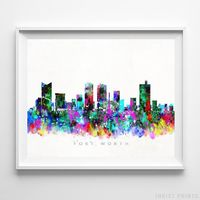 Fort Worth, Texas Skyline Watercolor Print by Inkist Prints - Available at https://www.inkistprints.com