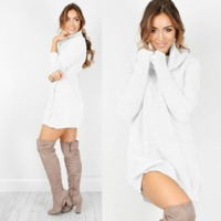 Oversized Solid Knitted Sweater Turtleneck Pullover $27.55