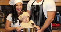 Tiana: Myself, my husband and my son are all together in this photo. My husband and I were chefs and my son is spaghetti and meatballs. The idea came from the..