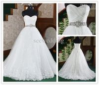 I fell in love! Wholesale Sexy Ball Gown Strapless Sweetheart Jewels Beaded Lace Floor Length Wedding Dress Bridal Gowns 2012, Free shipping, $168.0-190.4/Piece | DHgate
