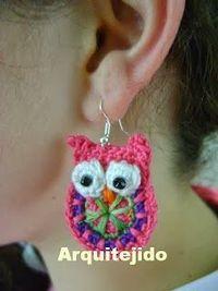 crochet owl earrings
